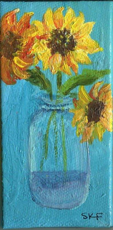 Sunflowers in Canning Jar Canvas with Easel by SharonFosterArt, $22.00