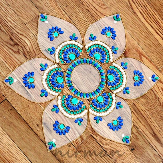 Rangoli floor art  Jumbo Pan  Blue Green and White  set by Nirman, $28.00