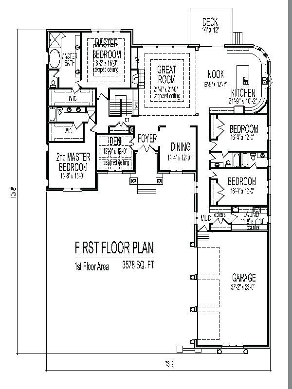 Single Level House Plans With Two Master Suites Fascinating Amazing One Level House Plan Single Level House Plans One Level House Plans Underground House Plans