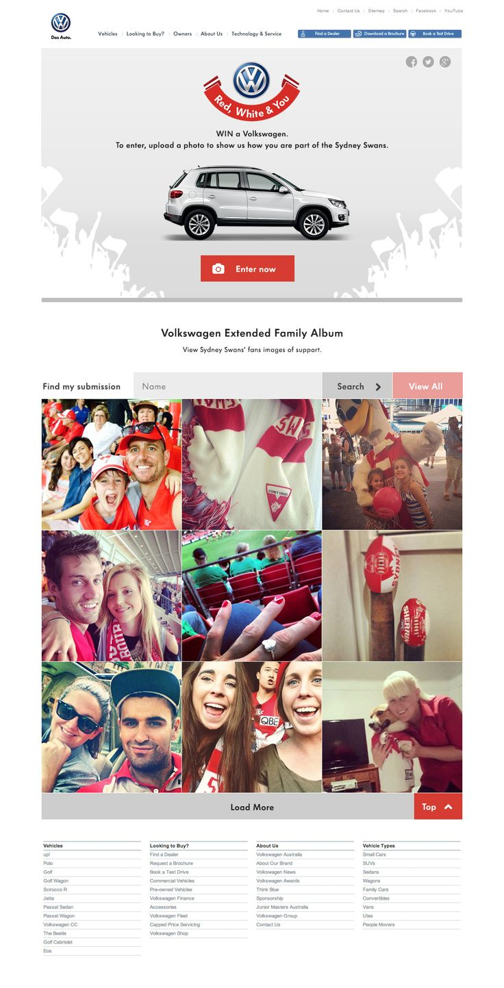 Project: VW & Sydney Swans - Win a Car, competition site. Role: Producer, UX. Agency: Tribal DDB.