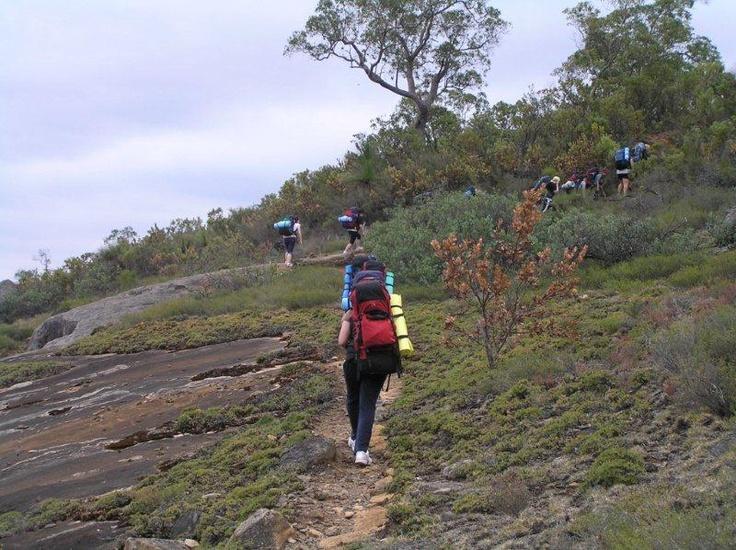 Walkers ascending Mt. Vincent.
