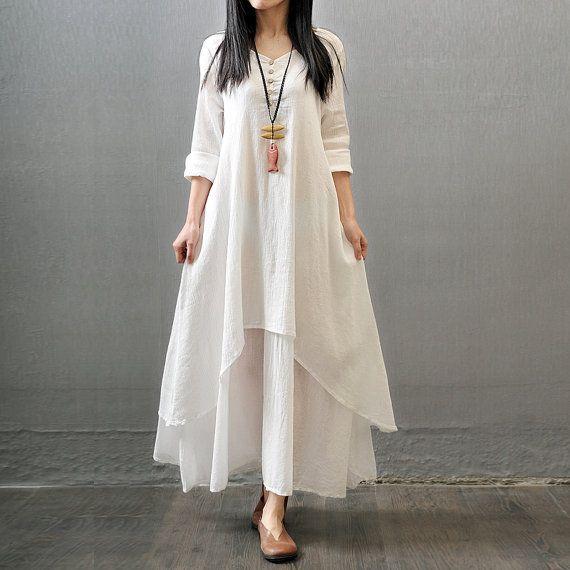 Ähnliche Artikel wie Womens lose passende unregelmäßige Baumwolle und Leinen-Kleid, lange Kleider, Sommer-Kleider, Prom Kleider, Party Kleider, Strandkleid, weiße Kleider auf Etsy