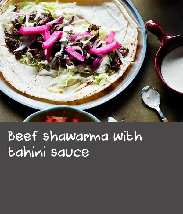 """Beef shawarma with tahini sauce 