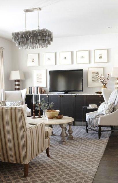 Sarah's House: Season 4, living room...love that Dash + Albert rug and the large frames around the TV