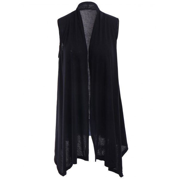 Stylish Collarless Sleeveless Solid Color Asymmetrical Women's Cardigan In Black | Twinkledeals.com