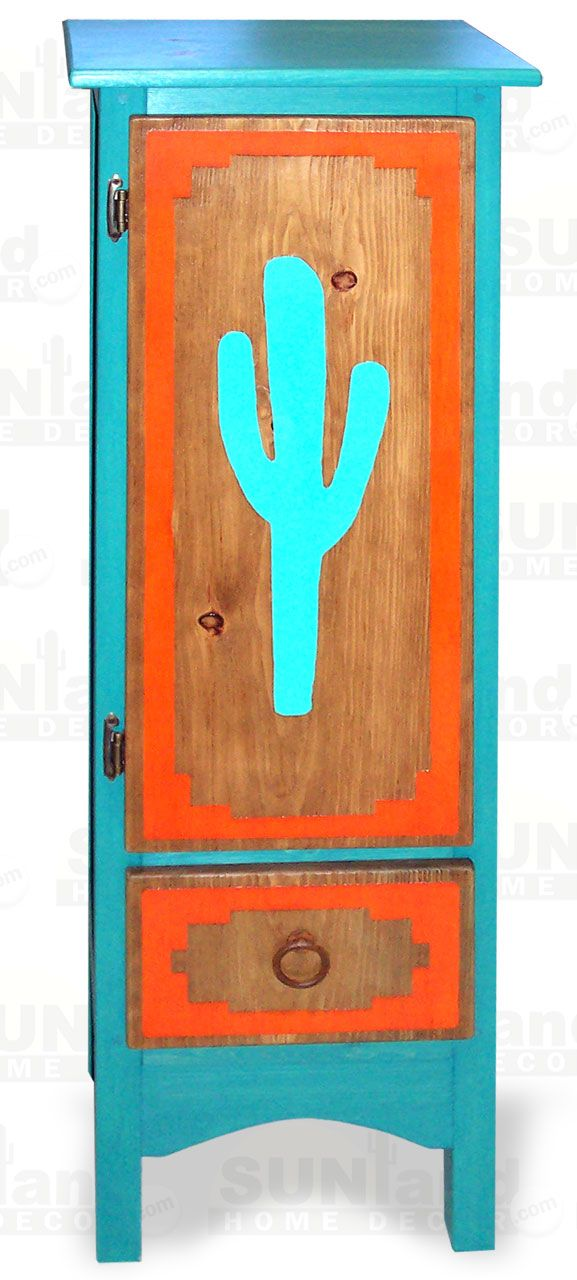 Hand crafted wooden CD storage cabinet has three vibrantly colored interior shelves and an exterior drawer. Exterior is finished in a teal wash with a natural finish door adorned with a hand painted saguaro cactus. Door and drawer have rustic metal hardware. Cabinet is hand made in Arizona from Southwestern pine. Easy Cleaning: Finish is a durable water-based polyurethane semi-gloss.     100_1213 - Saguaro Cactus CD Cabinet with Drawer --CM