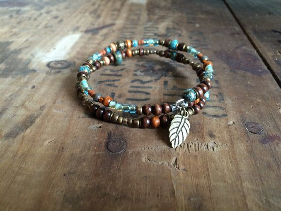Turquoise Boho Beaded Bracelet Memory Wire by HensandChicksDesigns