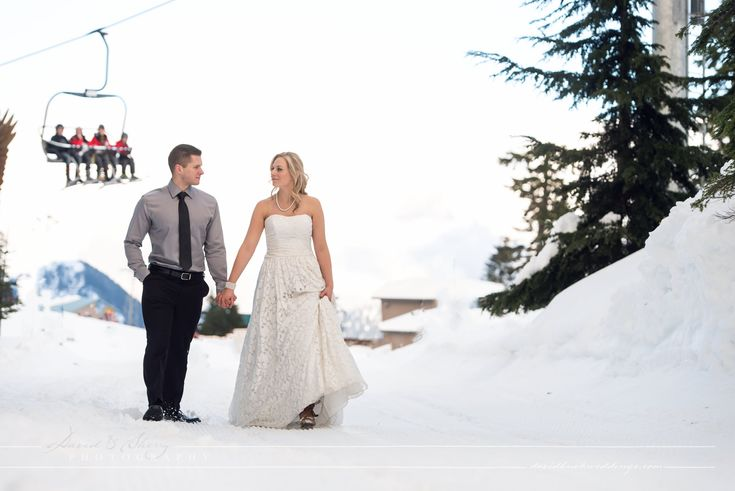 Grouse Mountain Winter Wedding getting married at the top of Vancouver