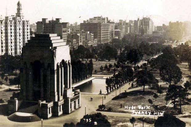 Hyde Park, Sydney NSW. The war memorial was built in 1932 so this picture was soon after that year
