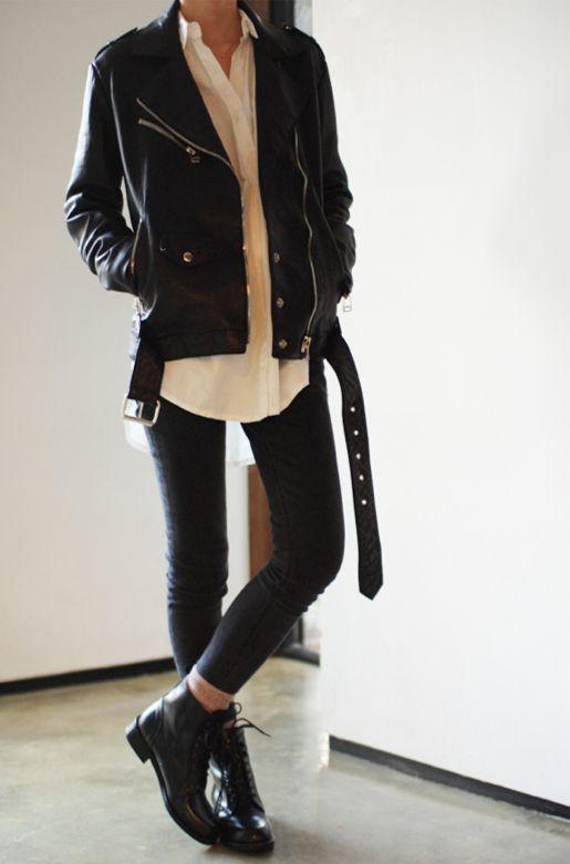 black vintage jacket + white buttondown + black pants