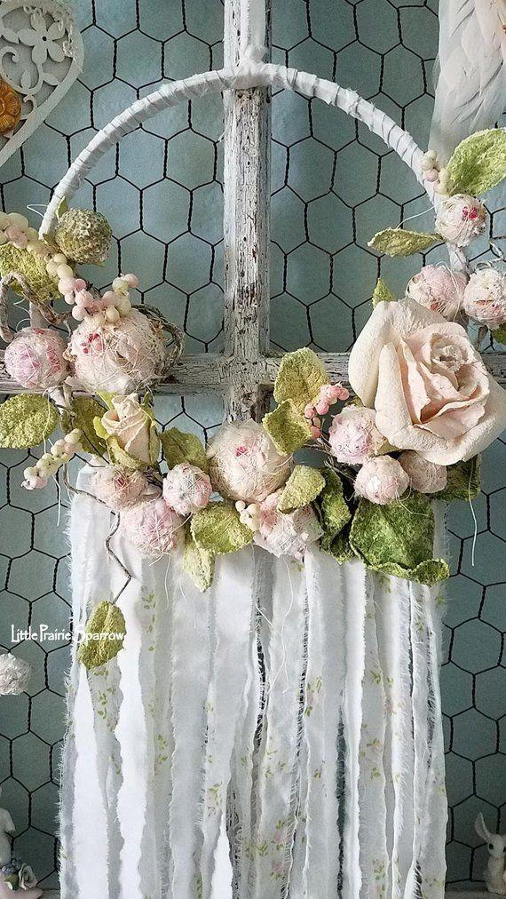 White Pretty Rose Baby Bridesmaid Ribbon Lace Vintage Boho Fabric Dreamcatcher
