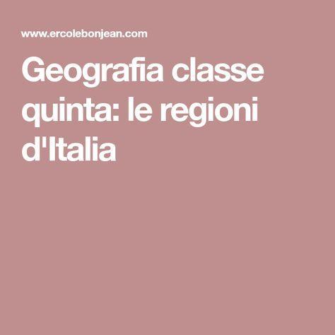 Geografia classe quinta: le regioni d'Italia