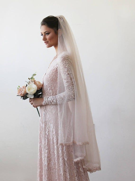 Wedding dress with lace flowers pink vintage unique elegant