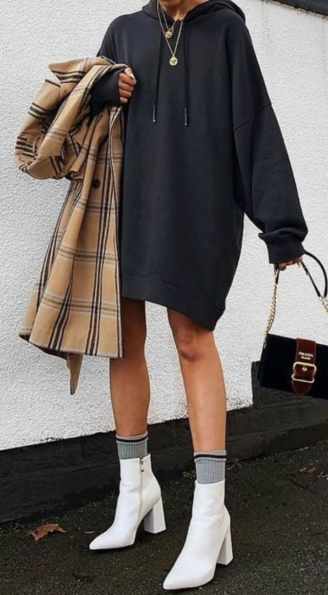 champion sweatshirt outfit + plaid coat + white ankle boots
