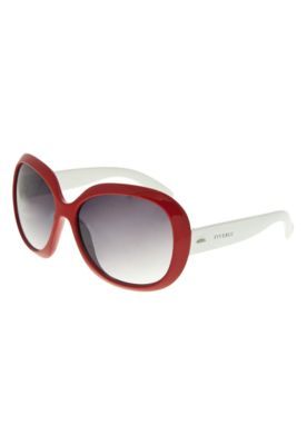 Óculos de Sol FiveBlu Bicolor vermelho, feitos em acetato com estrutura fechada e lentes circulares com leve efeito degradê preto, medindo 6cm de largura e 5 de altura. Com armação estilizada frontal de 15cm de largura, ponte de 1, hastes de 1,5cm e se