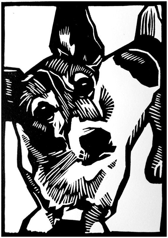 Titel: The Welsh Corgi Cardigan mixed with the Jack Russell Terrier  Numbers: 10  Materiaal: Linocut  Paper: incision  Druk techniek: Press on