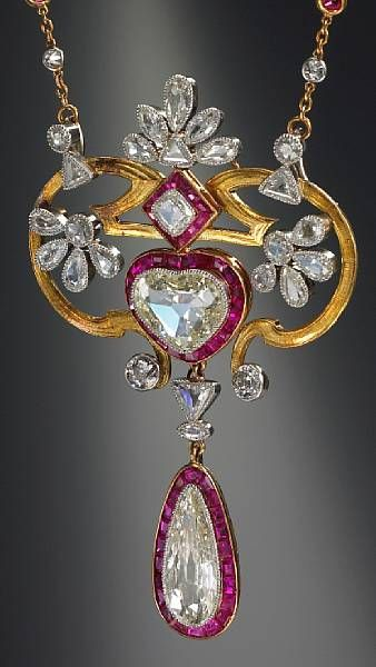 Diamond and ruby pendant necklace, French, ca. 1900. Bonhams, Fine Jewelry, Oct. 2008.