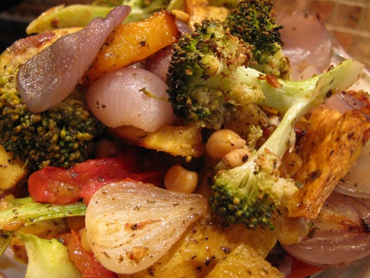 Roast Vegetables & Chickpeas with Harissa, toasted Pine nuts, drizzled ...