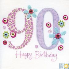 View item: Blue Eyed Sun X44 Vintage 90th Birthday Card