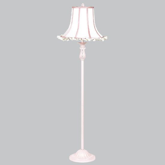 Shade   X Large   White Ruffle/Pink Trim On Pink Floor Lamp