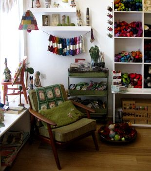 Loop yarn shop in Islington, London.  Wish I could own a yarn shop like this... I'd sit there & knit/crochet my day away :)