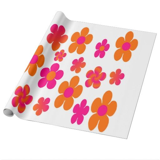 Eye catching Hot pink and orange floral gift wrapping paper  #hotpink