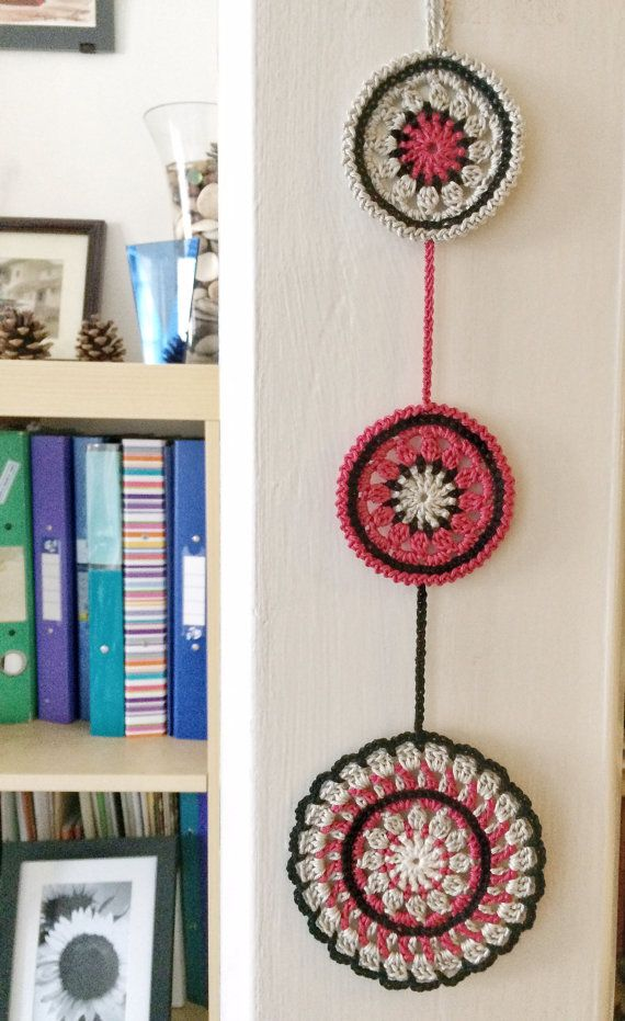 Noir and pomegranate mandala crochet wall pendant