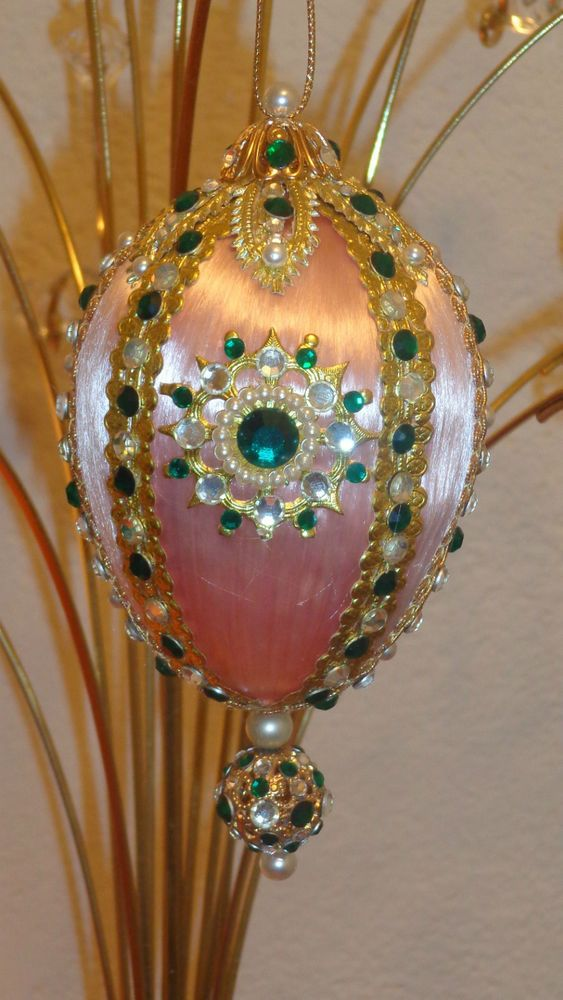 June Zimonick's Vintage Beaded Ornament Pink Pearls Rhinestones Stunning!