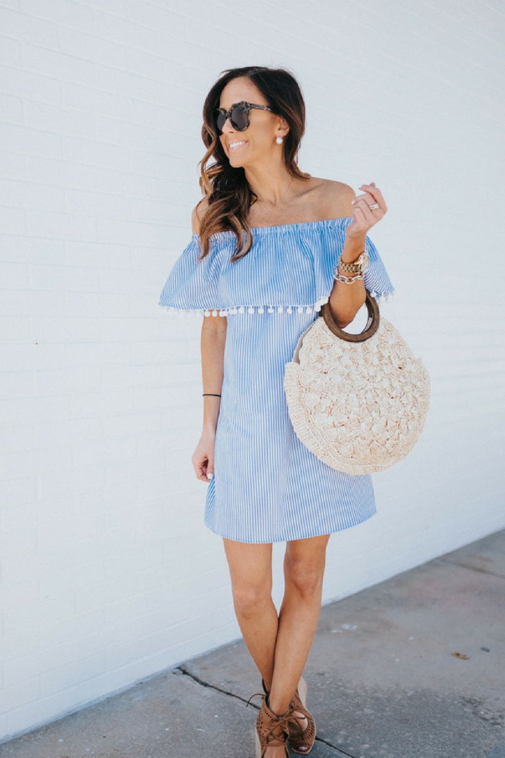 Summer Dress with Pom-Poms under $30 | Sequins and Things | summer dress, pom-poms dress, spring dress, sundress, off the shoulder dress, off the shoulder summer dress