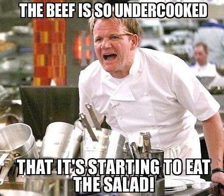 Under-cooked beef... maybe you need a few hints from 'The Gourmet' ..