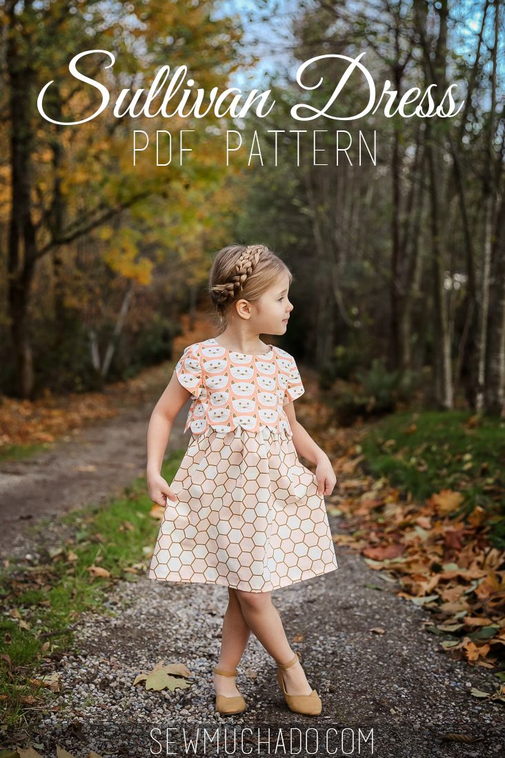 Girl's Dress Pattern - love the scalloped bodice and cat fabric! #sullivandress #sewmuchado #catfabric #sewingpattern #blushfabrics, #girlsdresspattern #pdfpattern #dresspattern #sewing