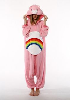 The Rainbow Bear Onesie brings to your home happiness and cheer just like the Care Bear it is inspired from. Baby pink with the rainbow belly insignia of the Care Bear - prepare to be amazed as you id