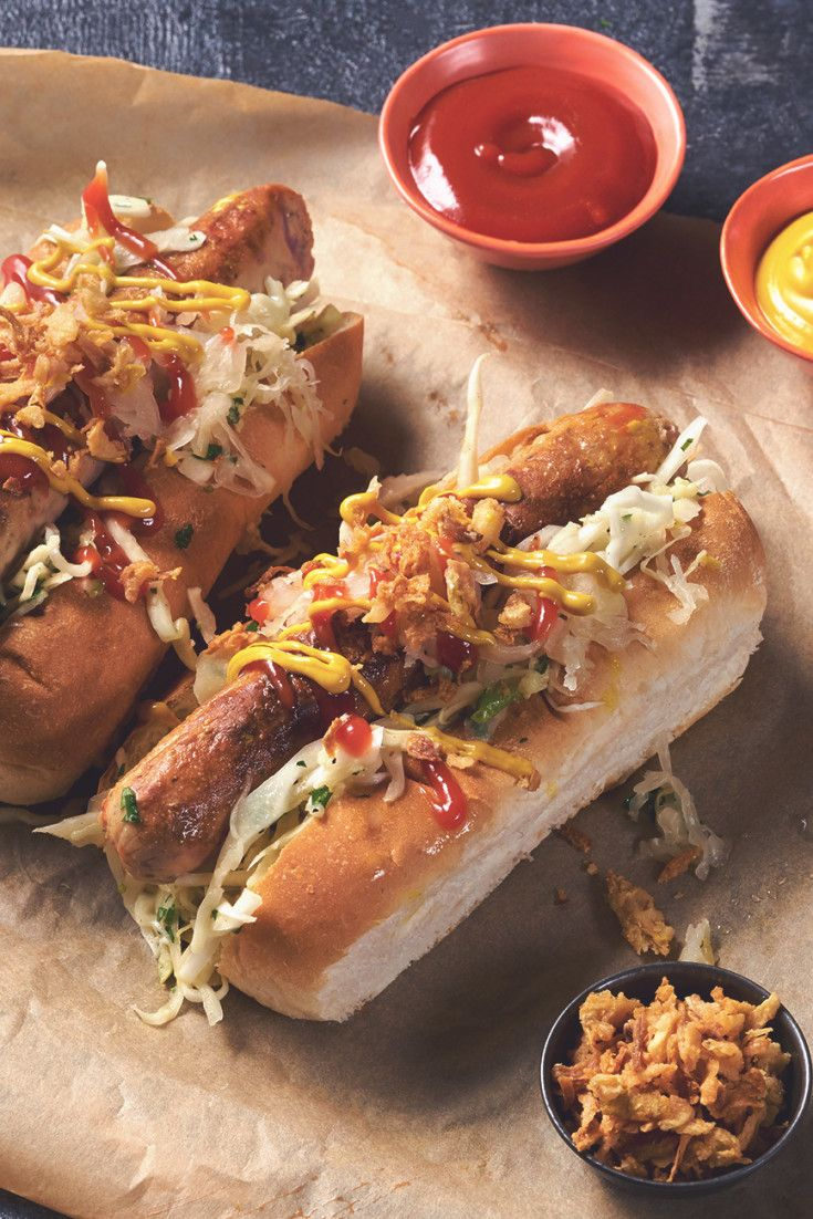 Bring The Delicious Smell Of The Christmas German Market To Your Home Preparing Mouth Watering Quorn Hot Dogs With Mustard Slaw And Sauerkra Quorn Recipes Food