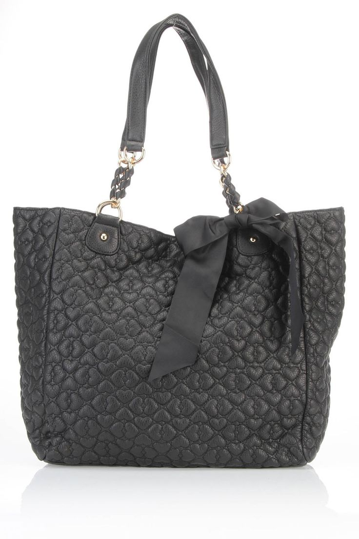 Betsey Johnson Quilted Love Tote In Black