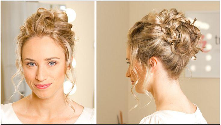 bridal hair - updo, curly bun | Bridal hair | Pinterest | Curly Bun ...