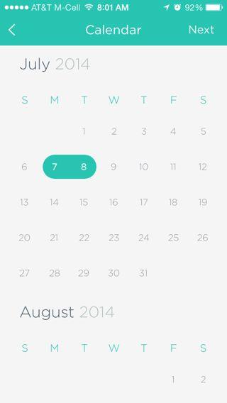 Gogobot iPhone calendar screenshot