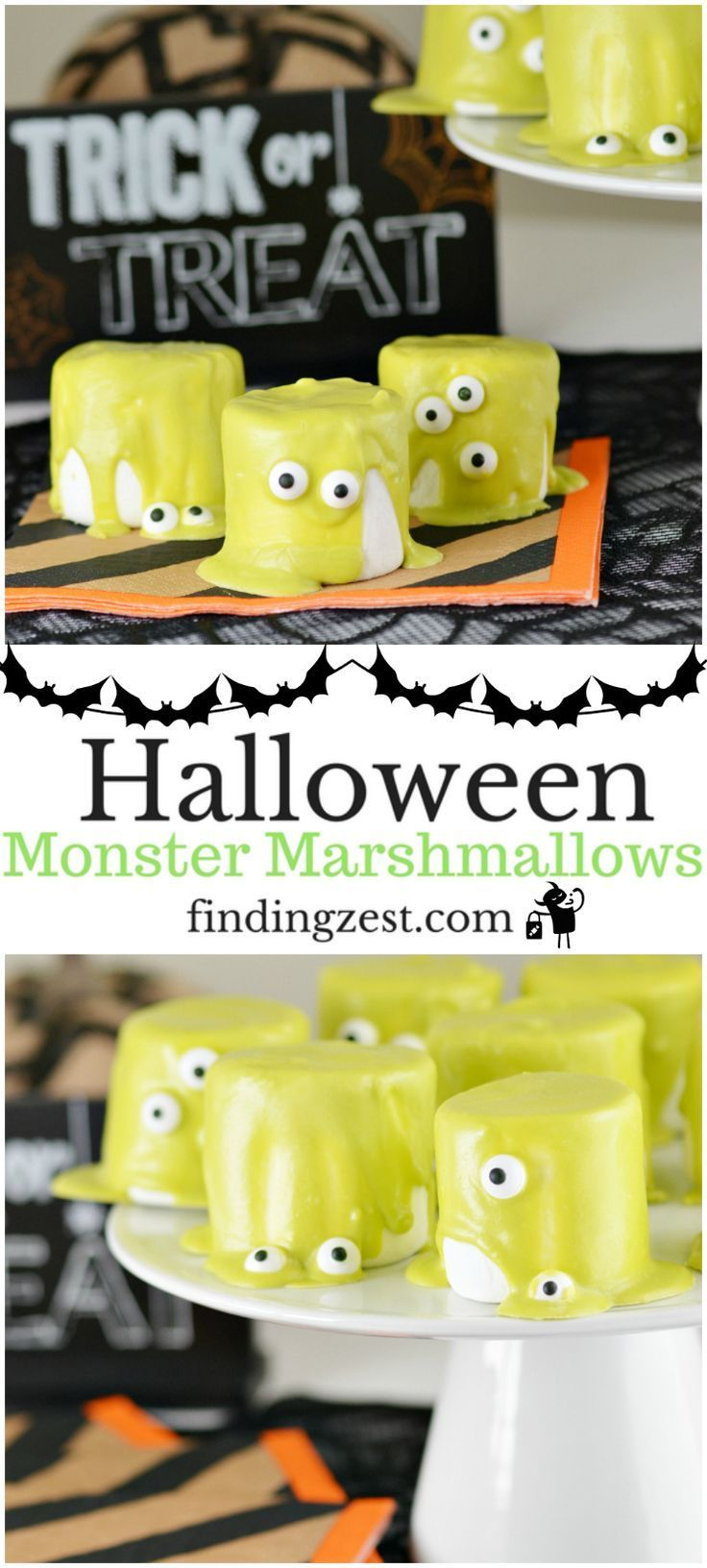 Halloween Monster Marshmallows: These fun slime marshmallows featuring droopy eyes are a fun no-bake Halloween treat!