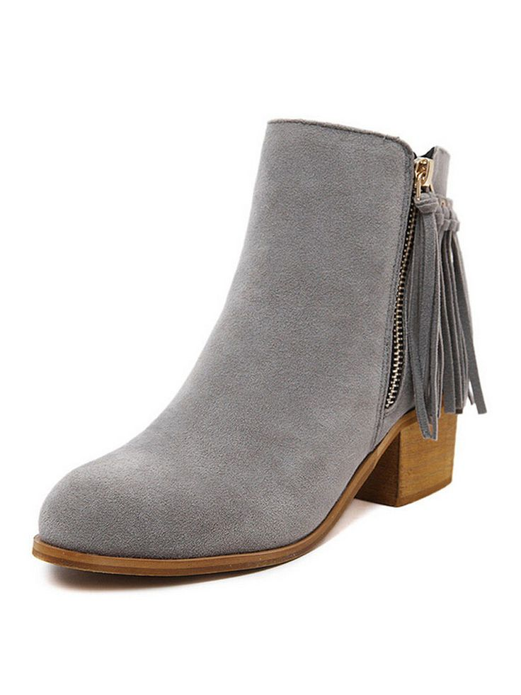 Gray Suedette Tasseled Zip Side Chunky Ankle Boots