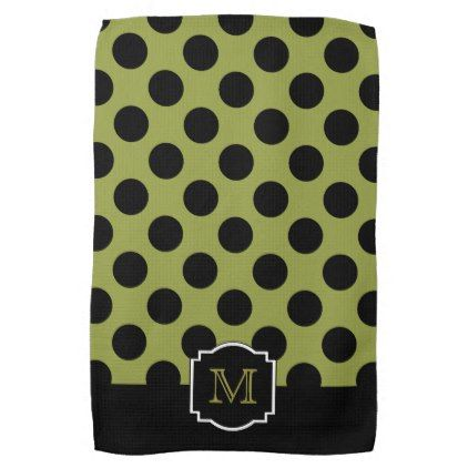 #Classic Polka Dots Monogram - Black Lime Green Hand Towel - #Halloween happy halloween #festival #party #holiday