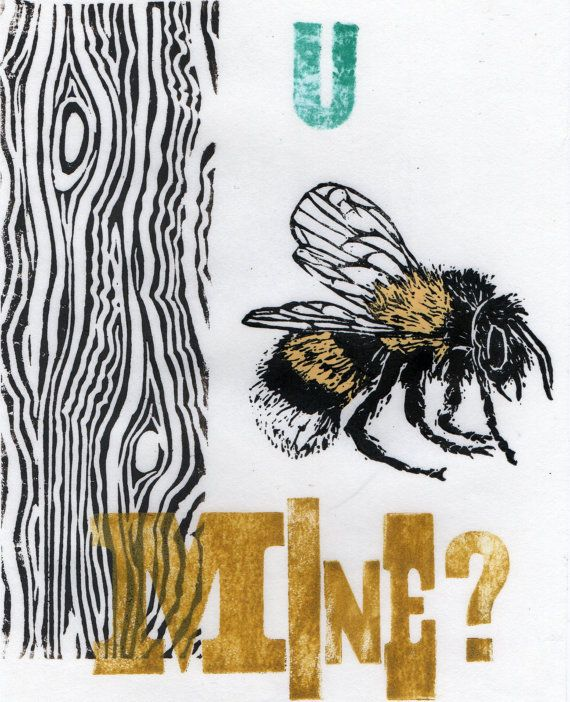 Wood U Bee Mine linocut by minouette on Etsy, $24.00
