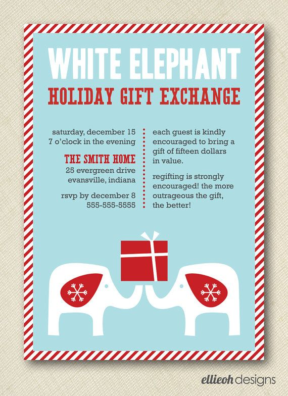 White elephant holiday gift exchange invite printable 5x7 Good gifts for gift exchange