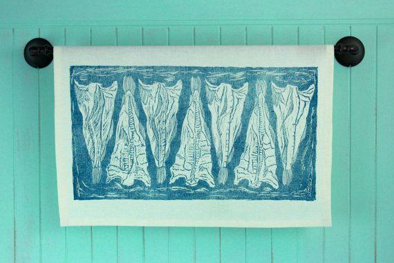 Block Printed, Salt Fish Tea Towel #brindylinens #blockprint #teatowel #hemp #cotton #printed #treatyoself #newfoundland