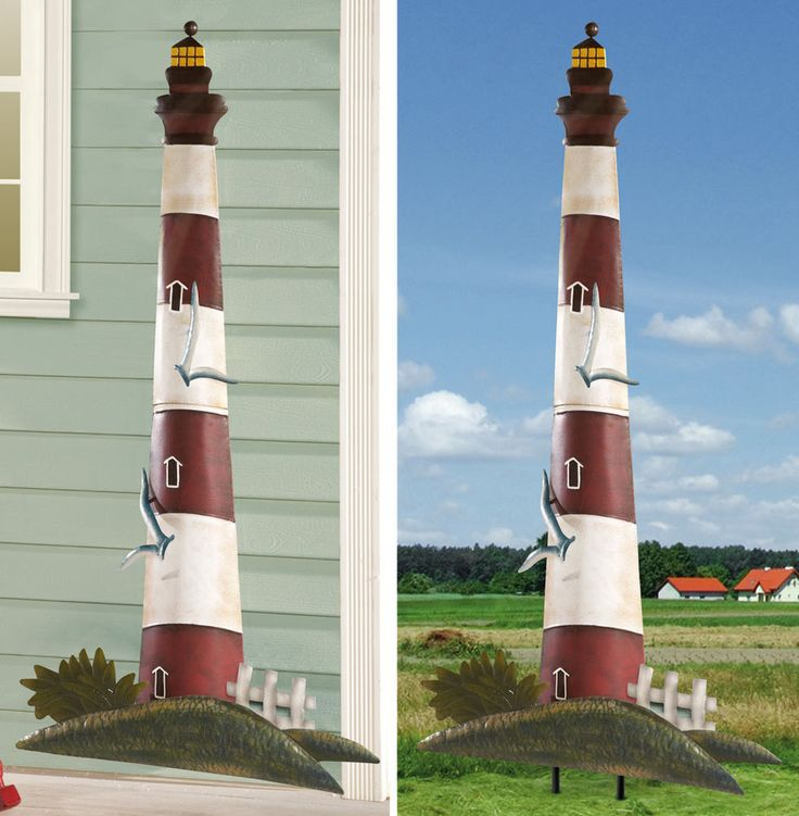 Lighthouse Garden Stake W/ Ocean Seagulls Inground Or Wall Hanging Home  Decor