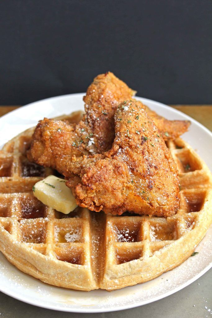 This is the perfect fried chicken and waffles recipe. Get ready to be impressed! Imagine perfectly seasoned and crispy fried chicken on top of a fluffy, sweet and tender waffle | Grandbaby Cakes