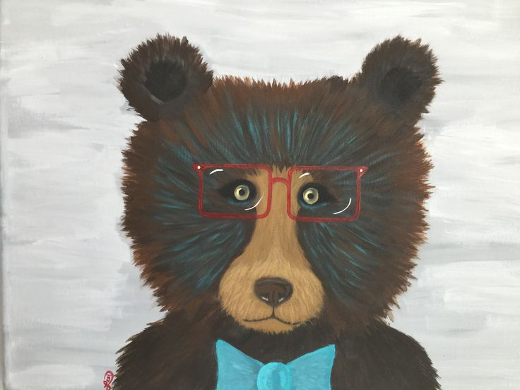 Hugo the bear . Acrylic paint