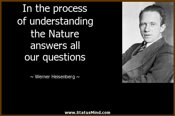 In the process of understanding the Nature answers all our questions - Werner Heisenberg Quotes - StatusMind.com