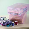 Shoe Box Storage  Find fabrics quickly and effortlessly by storing them in plastic shoe box storage containers. They're the perfect size to easily organize quilters' fat quarters fabrics and other sewing supplies.