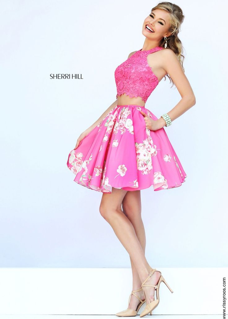 Two Piece Pink Lace & Floral Print Party Dress - Sherri Hill 32245 - New 2015 Dress - RissyRoos.com