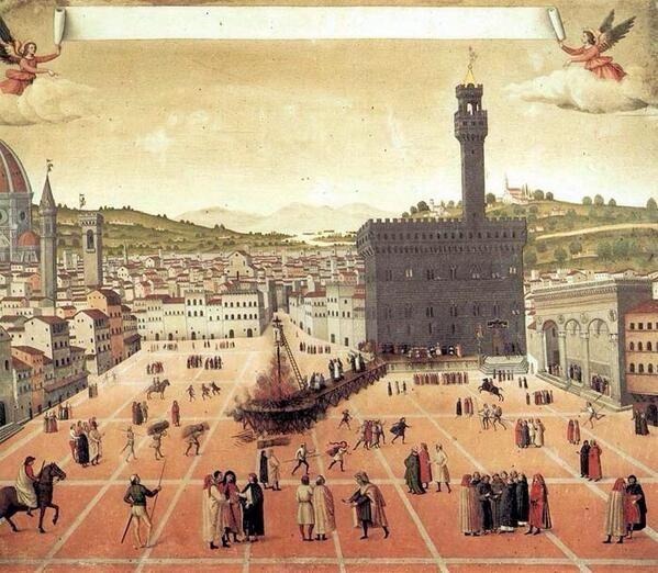 Hanging of Savonarola in the  Piazza della Signoria 1498
