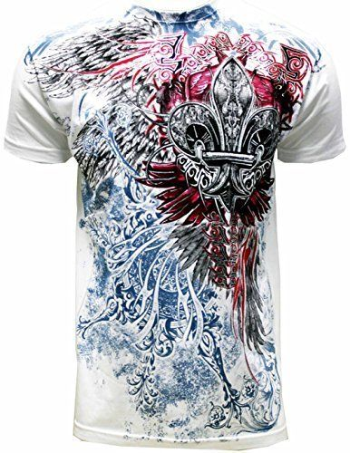 Konflic Men's Men's Cross with Wings Graphic Designer MMA Muscle T-shirt White L White